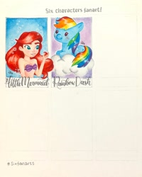 Size: 1080x1350   Tagged: safe, artist:watercolour.lily, rainbow dash, mermaid, pegasus, pony, six fanarts, ariel, bra, bust, clothes, cloud, crossover, duo, female, mare, on a cloud, prone, smiling, the little mermaid, traditional art, underwear