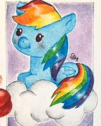 Size: 1080x1350 | Tagged: safe, alternate version, artist:watercolour.lily, rainbow dash, pegasus, pony, cloud, female, haikyuu, male, mare, on a cloud, prone, signature, smiling, solo, tobio kageyama