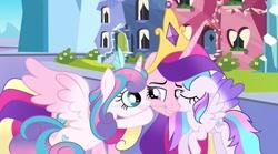 Size: 1024x571   Tagged: safe, artist:velveagicsentryyt, princess cadance, princess flurry heart, oc, oc:chryssa, pony, hug, offspring, older, parent:princess cadance, parent:shining armor, parents:shiningcadance