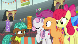 Size: 1920x1080   Tagged: safe, screencap, apple bloom, blueberry curls, bubblegum blossom, fruit pack, happy khaki, neigh sayer, ruby splash, scootaloo, spur, sweetie belle, trail blazer, growing up is hard to do, cutie mark crusaders, older
