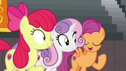 Size: 1920x1080   Tagged: safe, screencap, apple bloom, scootaloo, sweetie belle, growing up is hard to do, cutie mark crusaders, older