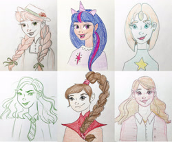 Size: 3240x2688   Tagged: safe, artist:malin_sketches, twilight sparkle, human, six fanarts, anne of green gables, avatar the last airbender, braid, bust, clothes, crossover, eyelashes, fake ears, fake horn, female, harry potter, hermione granger, humanized, lipstick, open mouth, pearl (steven universe), smiling, steven universe, the office, traditional art, ty lee