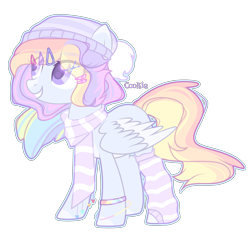 Size: 1920x1805 | Tagged: safe, artist:lazuli, oc, oc only, pegasus, pony, bracelet, clothes, commission, grin, hat, jewelry, pegasus oc, scarf, simple background, smiling, socks, solo, striped socks, transparent background, wings, ych result