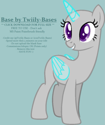 Size: 725x857 | Tagged: safe, artist:shiibases, oc, alicorn, pony, simple ways, alicorn oc, bald, base, blue background, female, grin, horn, looking back, mare, simple background, smiling, solo, wings