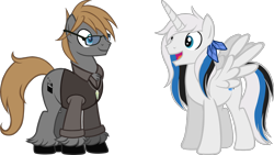 Size: 2000x1125 | Tagged: safe, artist:theeditormlp, oc, oc:rocky harmony, oc:the editor, alicorn, earth pony, pony, glasses, male, simple background, stallion, sweater vest, transparent background