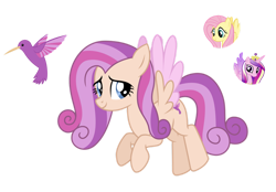 Size: 1280x891 | Tagged: safe, artist:tenderrain46, fluttershy, princess cadance, oc, pegasus, pony, female, magical lesbian spawn, mare, offspring, parent:fluttershy, parent:princess cadance, parents:flutterdance, simple background, transparent background