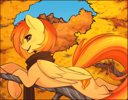 Size: 1280x996 | Tagged: safe, artist:spittfireart, edit, spitfire, pegasus, pony, alternate hairstyle, autumn, clothes, cute, cutefire, female, leaves, mare, open mouth, prone, scarf, smiling, solo, tree, underhoof