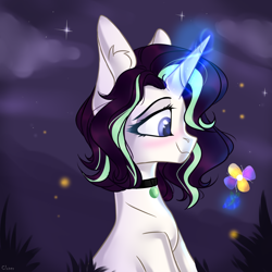 Size: 1920x1920 | Tagged: safe, artist:lazuli, oc, oc only, firefly (insect), insect, pony, blushing, bust, choker, commission, ear fluff, glowing horn, horn, night, smiling, solo, stars, ych result