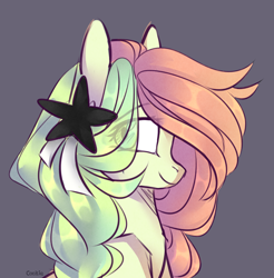 Size: 1920x1948 | Tagged: safe, artist:lazuli, oc, oc only, earth pony, pony, bust, earth pony oc, eye clipping through hair, gray background, hairclip, simple background, smiling, solo