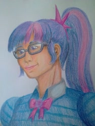 Size: 2448x3264 | Tagged: safe, artist:edhelistar, sci-twi, twilight sparkle, human, equestria girls, blouse, bowtie, bust, clothes, geode of telekinesis, glasses, human coloration, magical geodes, ponytail, simple background, traditional art, white background