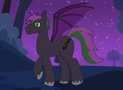 Size: 1747x1270 | Tagged: safe, artist:nerrenya, oc, oc only, bat pony, pony, bat pony oc, bat wings, male, night, raised hoof, solo, stallion, stars, unshorn fetlocks, wings