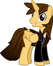 Size: 4000x4920 | Tagged: safe, alternate version, artist:melisareb, oc, oc only, oc:ej, alicorn, pony, absurd resolution, clothes, looking at you, male, simple background, smiling, solo, stallion, transparent background, vector