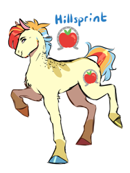 Size: 1107x1469 | Tagged: safe, artist:dollysdoodles, oc, oc:hillsprint dash-apple, earth pony, pony, colored hooves, magical lesbian spawn, male, offspring, parent:applejack, parent:rainbow dash, parents:appledash, simple background, solo, stallion, white background