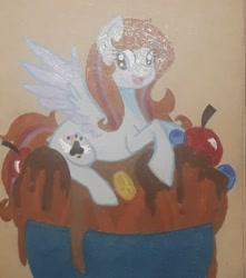 Size: 720x816 | Tagged: safe, artist:chewy-tartz, artist:fluffernutters16, oc, oc only, oc:bittersweet, pegasus, pony, colored wings, food, gradient wings, ice cream, ice cream sundae, ponies in food, smiling, traditional art, wings