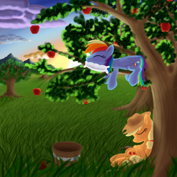 Size: 2000x2000   Tagged: safe, artist:stellardust, derpibooru exclusive, applejack, rainbow dash, earth pony, pegasus, pony, apple, apple tree, basket, duo, female, food, grass, mare, pillow, prone, sleeping, sunset, tree