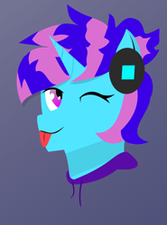 Size: 576x777 | Tagged: safe, artist:samsailz, oc, unicorn, clothes, headphones, hoodie, horn, mlem, one eye closed, silly, simple shading, smiling, tongue out, unicorn oc, wink
