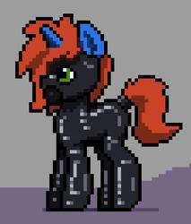 Size: 336x394 | Tagged: safe, artist:bitassembly, oc, oc only, oc:cyberpon3, pony, unicorn, bondage, encasement, gas mask, latex, latex suit, male, mask, pixel art, rubber drone, solo, stallion, tail wrap