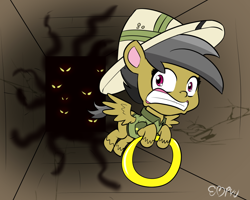 Size: 1000x800 | Tagged: safe, artist:empyu, daring do, pegasus, my little pony: pony life, 30 minute art challenge, escape, imminent tentacle rape, running