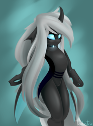 Size: 2217x3000 | Tagged: safe, artist:teelastrie, oc, oc only, oc:teelas, changeling, changeling oc, featureless crotch, female, glowing eyes, high res, solo, solo female