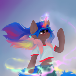 Size: 3000x3000 | Tagged: safe, artist:teelastrie, oc, oc only, pony, da 20th birthday, deviantart, female, glowing horn, horn, magic, ponified, solo