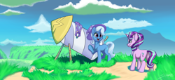 Size: 2048x936 | Tagged: safe, artist:silverhopexiii, starlight glimmer, trixie, pony, unicorn, looking at each other, mountain, plains, rocket, smiling, toy interpretation, trixie's rocket