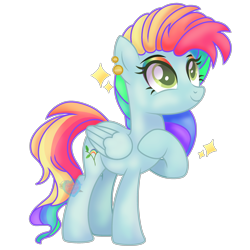 Size: 2600x2600 | Tagged: safe, artist:chocolateheartlu, oc, oc:rainbow blitz, pegasus, pony, base used, ear piercing, earring, jewelry, multicolored hair, parent:fluttershy, parent:rainbow dash, piercing, rainbow hair, rainbow makeup, solo