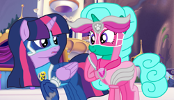 Size: 1873x1080 | Tagged: safe, artist:徐詩珮, glitter drops, twilight sparkle, alicorn, series:sprglitemplight diary, series:sprglitemplight life jacket days, series:springshadowdrops diary, series:springshadowdrops life jacket days, alternate universe, base used, chase (paw patrol), clothes, female, glitterlight, lesbian, mighty pups, paw patrol, shipping, skye (paw patrol), twilight sparkle (alicorn)