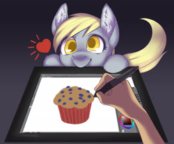Size: 1920x1598 | Tagged: safe, artist:taytinabelle, derpy hooves, pegasus, pony, drawing tablet, ear fluff, female, food, hand, looking at you, mare, muffin, simple background, smiling, solo, tablet, unshorn fetlocks