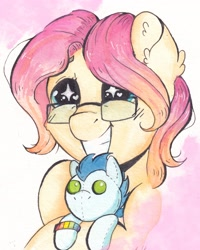 Size: 2828x3534 | Tagged: safe, artist:lightisanasshole, soarin', oc, oc:barpy, pegasus, pony, excited, glasses, happy, heart eyes, pegasus oc, plushie, profile, profile picture, smiley face, solo, traditional art, watercolor painting, wingding eyes, wings