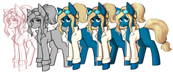 Size: 2480x1036 | Tagged: safe, artist:earthpone, oc, oc:dory, earth pony, pony, cell shaded, commission, commissions open, female, fullbody, lineart, mare, simple background, sketch, solo, transparent background