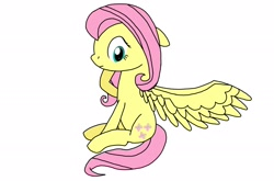 Size: 2176x1440   Tagged: safe, artist:windy breeze, fluttershy, pegasus, pony, cute, one wing out, shyabetes, simple background, solo, wing spreading, wings