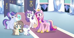 Size: 1280x663 | Tagged: safe, artist:stellamoonshine, princess cadance, oc, oc:chocoletta, oc:christia armor, oc:libby heart, oc:sweetie cotton candy, alicorn, pegasus, pony, unicorn, baby, baby pony, female, filly, offspring, parent:pound cake, parent:princess cadance, parent:princess flurry heart, parent:shining armor, parents:poundflurry, parents:shiningcadance