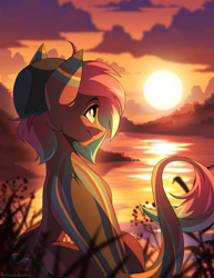 Size: 693x900 | Tagged: safe, artist:redchetgreen, oc, oc only, pony, leonine tail, scenery, scenery porn, solo, sunset, water