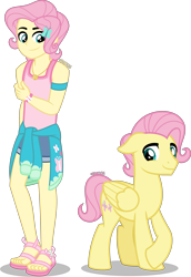 Size: 2759x4000 | Tagged: safe, artist:orin331, fluttershy, pegasus, pony, equestria girls, alternate hairstyle, barefoot, bracelet, butterscotch, clothes, cute, denim shorts, equestria guys, feet, femboy, geode of fauna, happy, hoodie, human ponidox, jewelry, magical geodes, male, male feet, pink hair, pink mane, pink tail, rule 63, sandals, self paradox, self ponidox, shorts, simple background, stallion, tanktop, transparent background