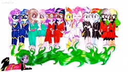 Size: 4128x2322 | Tagged: safe, artist:liaaqila, idw, applejack, fili-second, fluttershy, mane-iac, masked matter-horn, mistress marevelous, pinkie pie, radiance, rainbow dash, rarity, saddle rager, twilight sparkle, zapp, equestria girls, :t, alternate hairstyle, barefoot, bedroom eyes, belt, boots, clothes, commission, costume, crying, equestria girls-ified, feet, female, fetish, foot fetish, gloves, goggles, grin, jewelry, laughing, looking at each other, mane six, mask, necklace, open mouth, outfit, power ponies, shoes, simple background, smiling, soles, tears of laughter, tickle torture, tickling, traditional art, wall of tags, white background