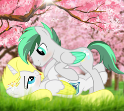 Size: 3331x2990 | Tagged: safe, artist:doctor raymond, oc, oc only, oc:dreamer skies, oc:sweetie shy, alicorn, pegasus, pony, alicorn oc, blushing, complex background, couple, cute, eye contact, female, grass, happy, horn, husband and wife, implied kissing, looking at each other, love, lying down, lying in grass, male, oc x oc, on top, pegasus oc, romantic, scenery, shipping, smiling, stallion, tongue out, tree, wings