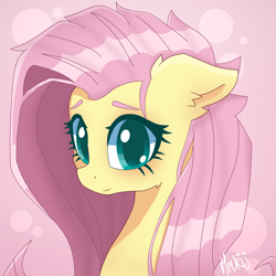 Size: 2000x2000 | Tagged: safe, artist:navokin, fluttershy, pony, abstract background, bust, cropped, cute, ear fluff, female, floppy ears, high res, looking at you, mare, portrait, shyabetes, smiling, solo, stray strand, three quarter view