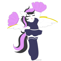 Size: 3000x3000 | Tagged: safe, artist:xcinnamon-twistx, oc, oc only, oc:lasting charity, pegasus, cheerleader, clothes, commission, eyes closed, happy, open mouth, pom pom, shirt, simple background, skirt, socks, solo, stockings, thigh highs, transparent background, ych result