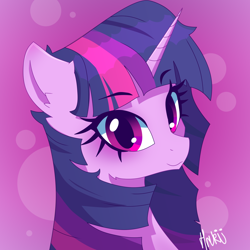 Size: 2000x2000 | Tagged: safe, artist:navokin, twilight sparkle, pony, unicorn, abstract background, bust, cropped, ear fluff, female, high res, looking at you, mare, portrait, smiling, solo, three quarter view