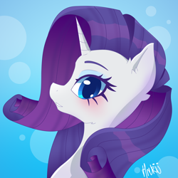 Size: 2000x2000 | Tagged: safe, artist:navokin, rarity, pony, unicorn, abstract background, bust, cropped, ear fluff, female, high res, looking at you, mare, open mouth, portrait, profile, solo