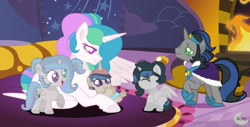Size: 1920x978 | Tagged: safe, artist:princesslunayay, king sombra, princess celestia, oc, oc:prince shadowing sun, oc:princess dark sun, oc:princess skyline shadow, alicorn, pony, unicorn, alternate hairstyle, baby, baby pony, base used, celestibra, chest fluff, colored eyebrows, colored eyelashes, colored pupils, cute, family, father, father and child, father and daughter, father and mother, father and son, female, filly, fireplace, foal, good king sombra, happy, heterochromia, hoof fluff, hoof sucking, husband and wife, logo, male, mare, momlestia, mother, mother and child, mother and daughter, mother and son, multicolored mane, multicolored tail, next generation, offspring, parent:good king sombra, parent:king sombra, parent:princess celestia, parents:celestibra, pigtails, ponytail, raised hoof, shipping, smiling, spread wings, stallion, straight, wings