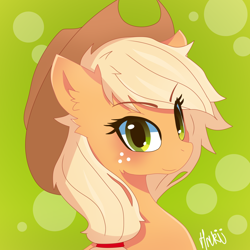 Size: 2000x2000 | Tagged: safe, artist:navokin, applejack, earth pony, pony, abstract background, blushing, bust, cropped, ear fluff, eye clipping through hair, female, hat, high res, looking at you, mare, portrait, smiling, solo, three quarter view