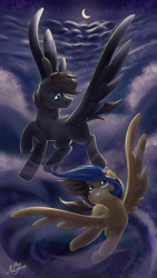 Size: 2200x3900 | Tagged: safe, artist:ariamidnighters, oc, oc only, pegasus, pony, cloud, crescent moon, duo, female, flying, looking at each other, male, mare, moon, night, smiling, stallion