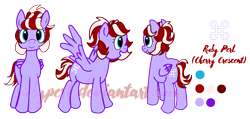 Size: 2644x1263 | Tagged: safe, artist:twilightcomet, oc, oc only, oc:ruby perl, pegasus, pony, female, mare, pegasus oc, reference sheet, simple background, solo, transparent background, wings