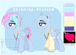 Size: 2108x1528 | Tagged: safe, artist:shinningblossom12, oc, oc only, oc:shinning blossom, pegasus, pony, base used, bedroom eyes, choker, duo, ear piercing, earring, eyelashes, heart, jewelry, necklace, pegasus oc, piercing, reference sheet, wings