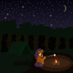 Size: 800x800 | Tagged: safe, artist:silent pone, derpibooru exclusive, oc, unnamed oc, pony, unicorn, campfire, food, forest, male, marshmallow, moon, night, pixel art, shadow, sitting, stallion, stars, tent, tree