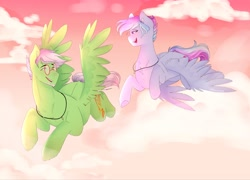 Size: 2048x1473 | Tagged: safe, artist:shinningblossom12, oc, oc only, oc:drawing, oc:shinning blossom, pony, eyes closed, female, flying, glasses, jewelry, male, mare, necklace, smiling, speedpaint available, stallion