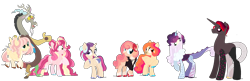 Size: 2480x800 | Tagged: safe, artist:fuxebuxe, discord, fluttershy, pinkie pie, oc, oc:blood orange, oc:cacophony, oc:cotton elizabeth fluff, oc:sixth sense, oc:sleepy-time tea, alicorn, earth pony, hybrid, pegasus, pony, base used, disshypie, family, group, next generation, offspring, parent:discord, parent:fluttershy, parent:pinkie pie, parents:disshypie, pegasus pinkie pie, race swap, redesign, simple background, transparent background