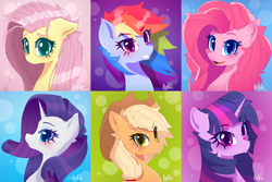 Size: 6000x4000 | Tagged: safe, artist:navokin, applejack, fluttershy, pinkie pie, rainbow dash, rarity, twilight sparkle, earth pony, pegasus, pony, unicorn, absurd resolution, bust, cheek fluff, cowboy hat, cute, ear fluff, female, hat, looking at you, mane six, mare, portrait, profile, smiling
