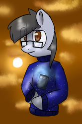 Size: 2575x3894 | Tagged: safe, artist:asklightning, oc, oc only, oc:silver bristle, earth pony, pony, semi-anthro, clothes, confused, digital art, doctor who, glasses, looking at you, male, necktie, simple background, stallion, sweater, tardis